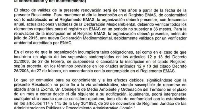 Valdebebas renueva un año más el cumplimiento del reglamento EMAS 3, máxima calificación ambiental