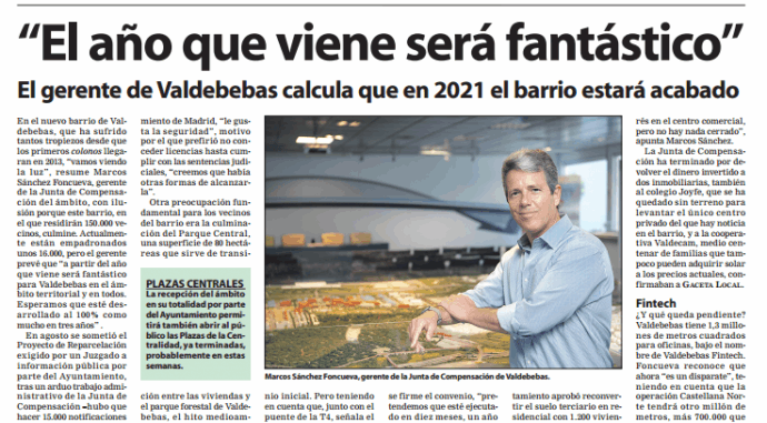Entrevista a Marcos Sánchez Foncueva, Gerente de la Junta de Compensación de Valdebebas en el periódico Gaceta local: