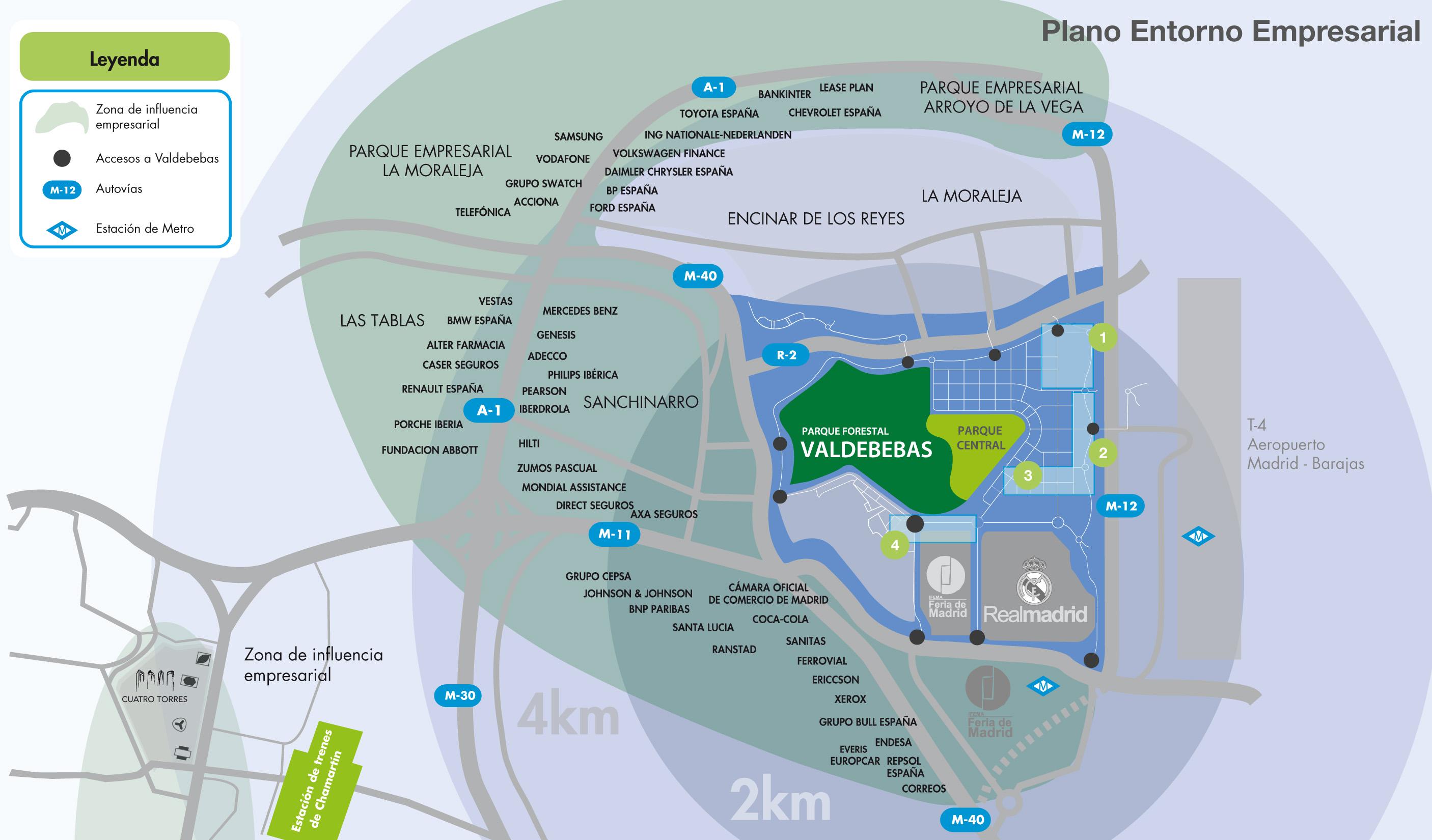 Plano de ubicación de parcelas de uso terciario (oficinas y hoteles) en Valdebebas